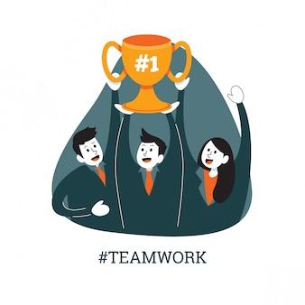 Teamarbeit in bürouniform