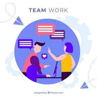 Teamarbeit-konzepthintergrund mit arbeitgebern