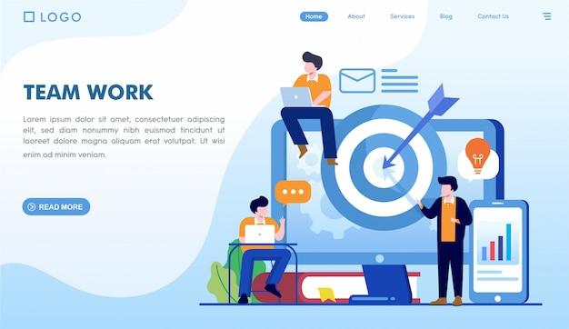 Teamarbeit landing page vorlage