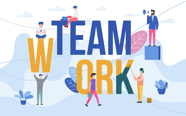 Teamarbeit mit menschen, die im team arbeiten