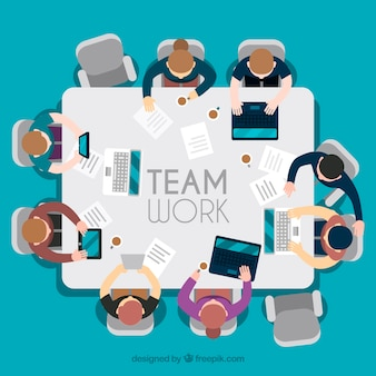 Teamarbeit, quadratischer tisch