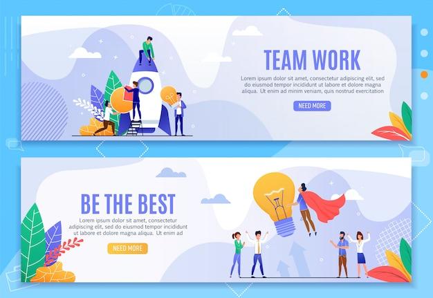 Teamarbeit und beste motivation banner set