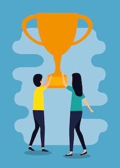 Teamarbeit von mann und frau mit pokalpreis
