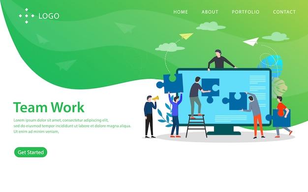 Teamarbeit, websitevektorillustration