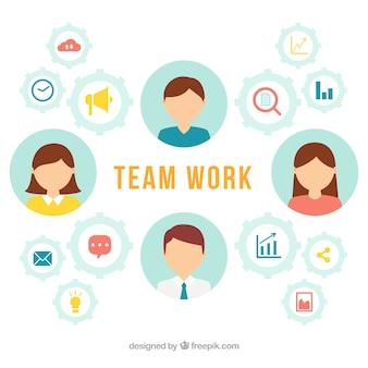Teamarbeitshintergrund in der flachen art