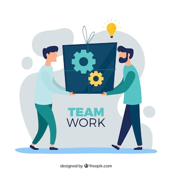 Teamarbeitskonzept mit flachem design