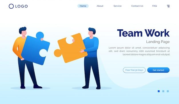 Teamarbeitslandungsseitenwebsiteillustrations-vektorschablone