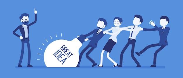 Teamaufstand tolle idee. junges kreativteam, das einen super neuen projektplan erstellt, mit mühe zieht, alle kraft, zeit und energie einsetzt und zusammenarbeitet. illustration mit gesichtslosen zeichen