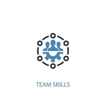 Teamfähigkeiten konzept 2 farbiges symbol. einfache blaue elementillustration. teamfähigkeiten konzept symbol design. kann für web- und mobile ui/ux verwendet werden