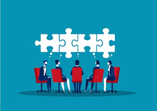 Teamgeschäft ideen im büroraum teilen