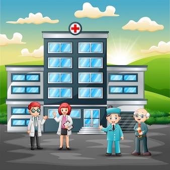 Teamkonzept des medizinischen personals vor krankenhaus