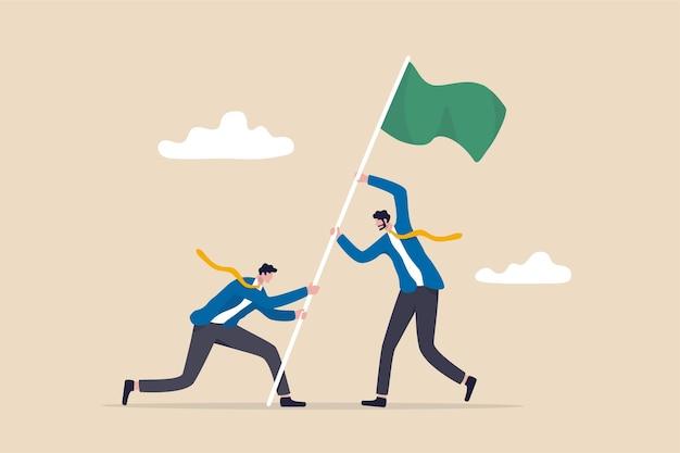 Teamleistung, geschäftliche herausforderung und sieg oder gewinner beim erreichen des ziels