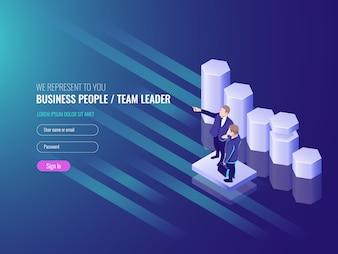 Teamleiter, Arbeitsteam gehen zum Erfolg, zwei Geschäftsleute, planen ein