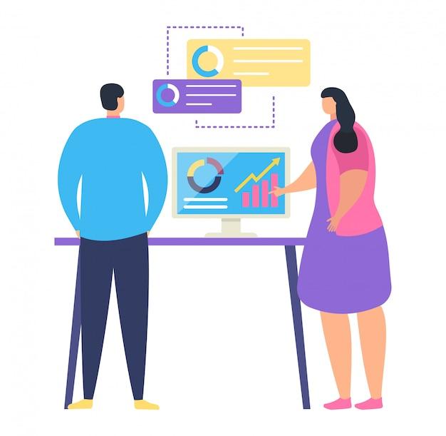 Teamleiterin weiblich erzählen untergeordnete arbeitsgeschäftsaufgabe, männlicher charakter büroangestellter-ausbildungskurs, auf weiß, illustration.
