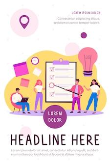Teammitglieder, die ideen während der flachen illustration des brainstormings teilen