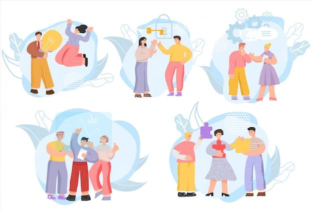 Teamprojekt brainstorming, geschäftsideenkonzept, illustration. zeichentrickfiguren von geschäftsleuten, teamwork-lösungen, brainstorming-treffen, diskussion über startup-projekte. kreative ideennetzwerke