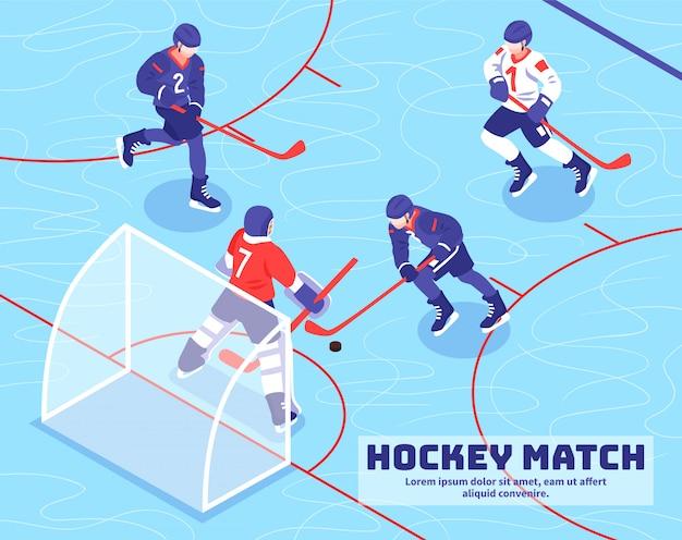 Teams von spielern nähern sich ziel mit kobold während des hockeyspiels auf isometrischer illustration des eises