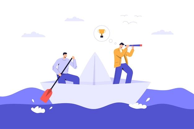 Teamwork auf papierboot auf der suche nach trophäe