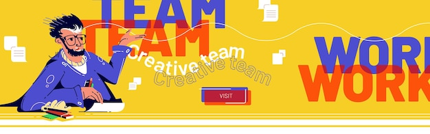Teamwork-banner mit geschäftsmann, der auf schreibtisch auf gelb sitzt