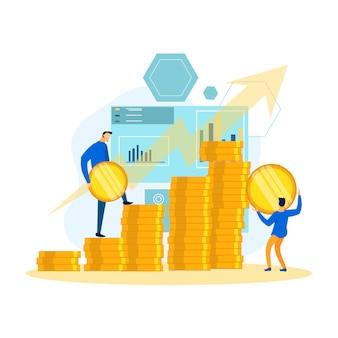 Teamwork-berufsgeschäftsmänner sparen geld