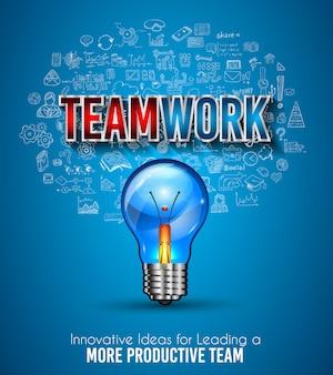 Teamwork borchure-vorlage mit handgezeichneten skizzen