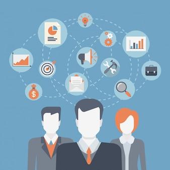 Teamwork brainstorming erfolg gewinnendes profi-team, unternehmensmitarbeiter, unternehmensabteilung, mitarbeiterkooperation, führung konzept flache design illustration.
