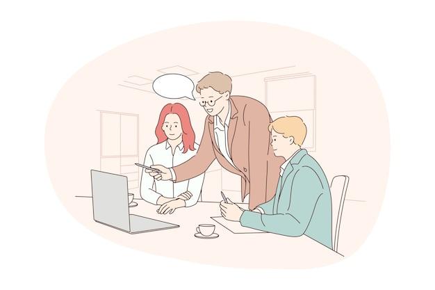 Teamwork brainstorming geschäftskommunikation über startup-konzept