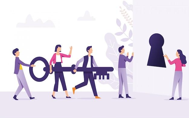 Teamwork bringt den schlüssel zum schlüsselloch als schlüssel zum erfolg