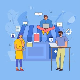 Teamwork building business-branche von online-shopping-shop. symbol grafikart linie karikatur. veranschaulichen.