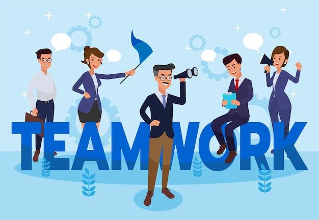 Teamwork - bunte illustration des flachen designstils mit kreativem mitarbeiter. eine komposition mit arbeitern oder geschäftsleuten.