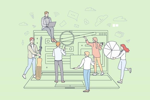 Teamwork, business, partnerschaft, digitales marketingkonzept