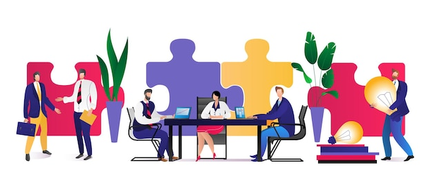Teamwork business puzzle konzept