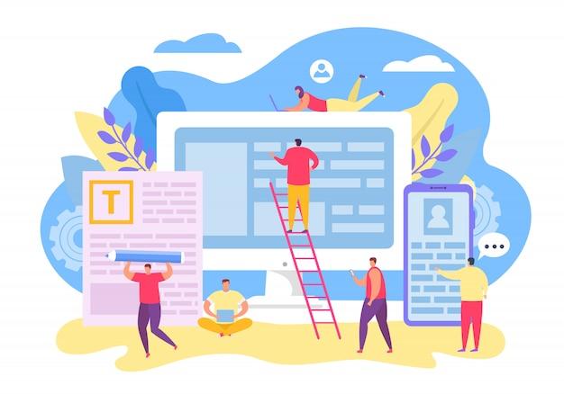 Teamwork-charakter für contect management, illustration. seo team design-anwendung, schreiben sie text auf großen cartoon-bildschirm.