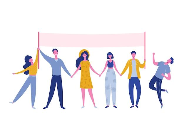 Teamwork-charaktere, die in der schlange stehen und texttafel halten. lächelnde menschenillustration. freundschaft, führung, geschäftsteam, konzept der sozialen vielfalt