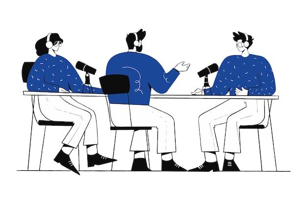 Teamwork collaboration podcast interview illustration