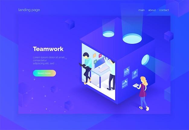 Teamwork eine gruppe von personen im arbeitsprozess landing page projektarbeit vektorillustration eines isometrischen stils auf ultraviolettem hintergrund