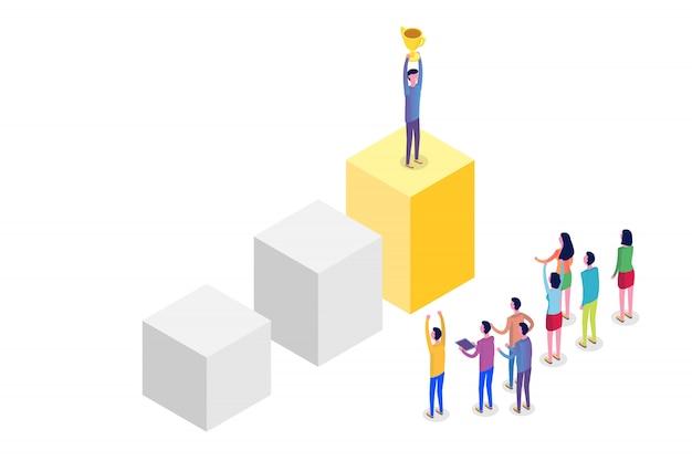 Teamwork, erfolg, sieg teamkonzept isometrisch. illustration.