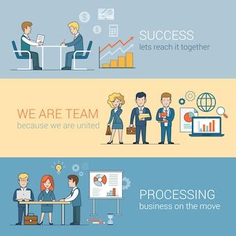 Teamwork erfolg verarbeitung von infografiken. lineare flache linie kunstart geschäftsleute konzept. konzeptionelle sammlung von teamarbeitern für geschäftsleute. globe laptop tisch mann frau board.