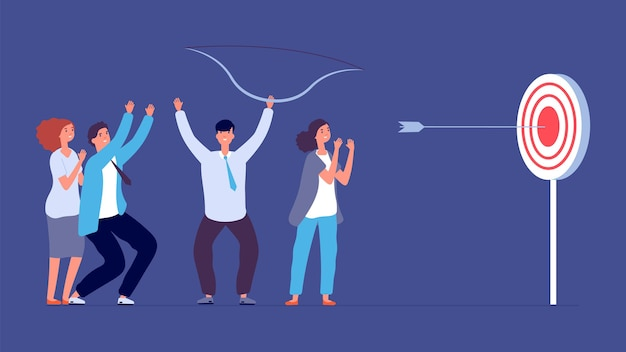 Teamwork-erfolgsmetapher. ziel, fokus und fortschritt. geschäftsbogenschießen, pfeiltrefferfokus. flaches glückliches startteam-vektorkonzept. zielziel, teamwork-herausforderungsfortschrittsillustration