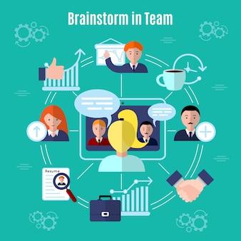 Teamwork flat concept