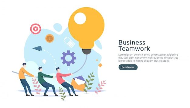 Teamwork-geschäftsbrainstorming ideenkonzept mit großer lampe der gelben glühlampe, kleiner leutecharakter