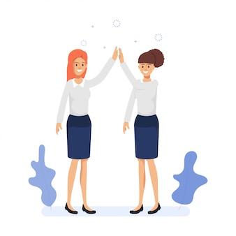 Teamwork-geschäftsfrau-kollege co, die erfolgreichen geschäftsjob bearbeitet.