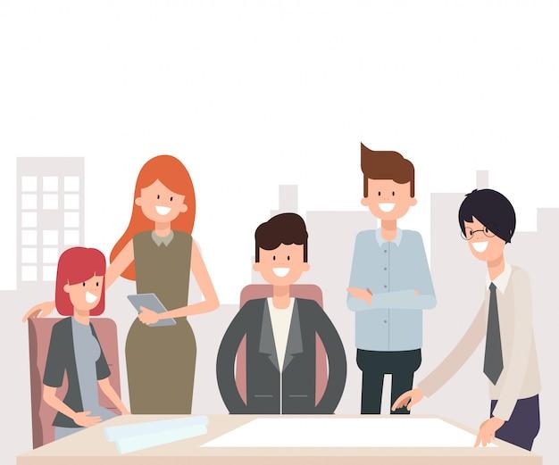 Teamwork-geschäftsleute charakter in der gruppe.