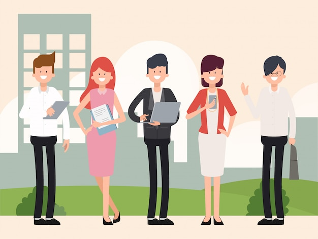 Teamwork geschäftsleute in gruppe. charakter menschen im job.