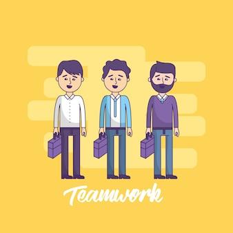 Teamwork geschäftsleute mit aktenkoffer in der hand