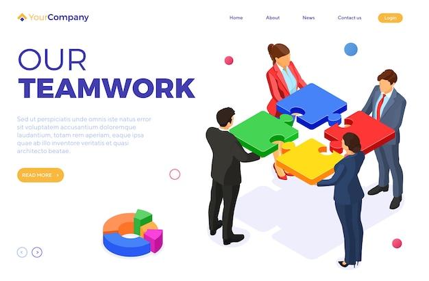 Teamwork geschäftsleute und frauen. partnerschaftliche zusammenarbeit. rätsel infografiken. graph business analytics. b2b-heldenbilder. zielseitenvorlage. isometrischer isolierter vektor