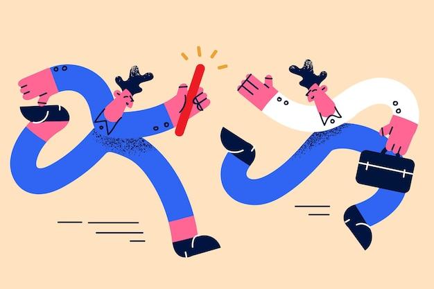 Teamwork-geschäftsübergabe oder partnerschaftskonzept