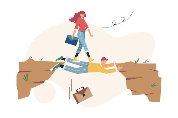 Teamwork hilft bei der überwindung von hindernissen, um das ziel zu erreichen