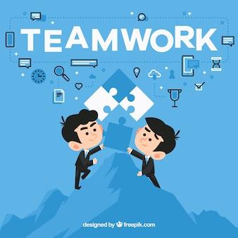 Teamwork-hintergrund im flachen design