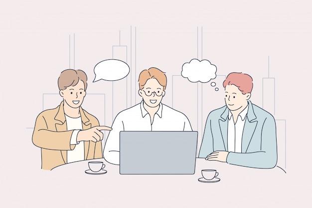 Teamwork, idee, brainstorming, coworking, business, analyse, meeting, diskussionskonzept